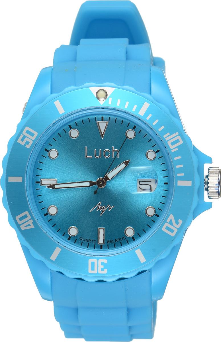 Часы наручные мужские Луч, цвет: голубой. 728785941728785941Стильные женские часы Луч выполнены из пластика и силикона. Циферблат оформлен символикой бренда и дополнен индикатором даты. Корпус часов оснащен кварцевым механизмом со сменным элементом питания, а также дополнен браслетом, который застегивается на практичную пряжку. На стрелки и циферблат нанесен светящийся состав. Часы поставляются в фирменной упаковке. Часы Луч подчеркнут отменное чувство стиля их обладателя.