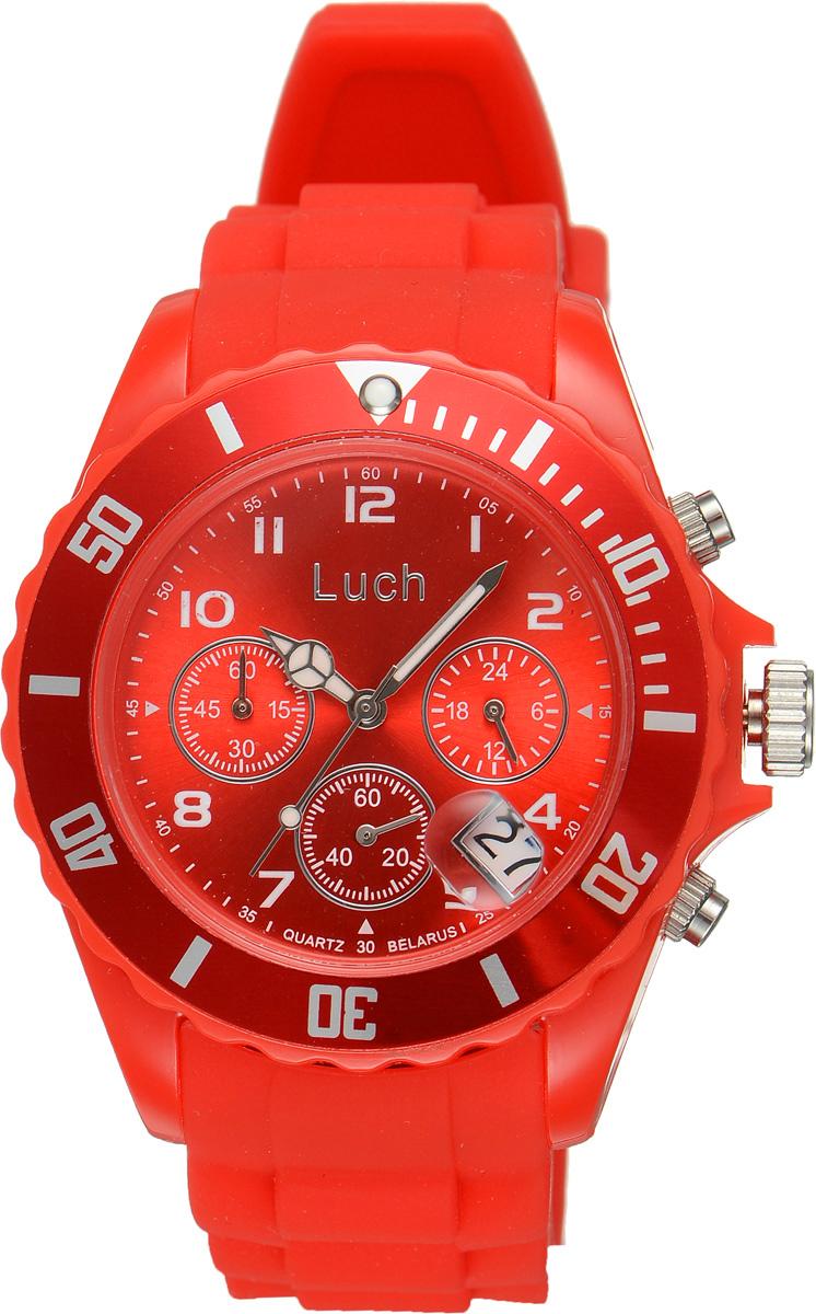 Часы наручные женские Луч, цвет: красный. 728885020728885020Стильные женские часы Луч выполнены из пластика и силикона. Циферблат оформлен символикой бренда и дополнен индикатором даты, секундомером и индикатором суточного времени. Корпус часов оснащен кварцевым механизмом со сменным элементом питания, а также дополнен браслетом, который застегивается на практичную пряжку. На стрелки нанесен светящийся состав. Часы поставляются в фирменной упаковке. Часы Луч подчеркнут отменное чувство стиля их обладателя.