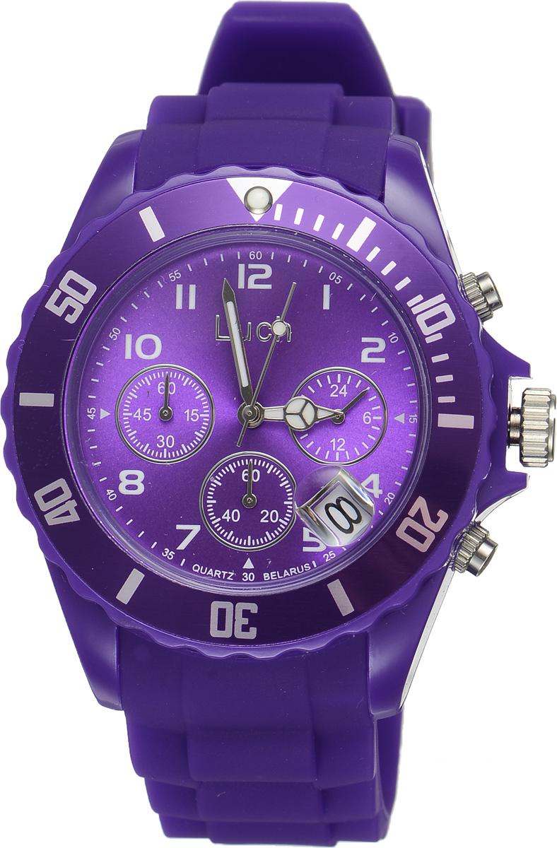 Часы наручные женские Луч, цвет: фиолетовый. 728885022728885022Стильные женские часы Луч выполнены из пластика и силикона. Циферблат оформлен символикой бренда и дополнен индикатором даты, секундомером и индикатором суточного времени. Корпус часов оснащен кварцевым механизмом со сменным элементом питания, а также дополнен браслетом, который застегивается на практичную пряжку. На стрелки нанесен светящийся состав. Часы поставляются в фирменной упаковке. Часы Луч подчеркнут отменное чувство стиля их обладателя.