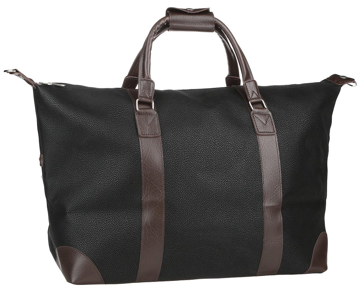 Сумка дорожная Beijing Alex, цвет: черный, коричневый, 46 л. P713RP713RСтильная дорожная сумка Beijing Alex прекрасно подойдет для путешествий. Сумка выполнена из текстиля и искусственной кожи с фактурной поверхностью из ПВХ. Изделие имеет одно основное отделение, закрывающееся на застежку-молнию. Внутри находится прорезной карман на застежке-молнии. Модель оснащена двумя удобными ручками для переноски в руках. В комплект входит съемный регулируемый плечевой ремень. Основание изделия защищено от повреждений металлическими ножками. Такая дорожная сумка сможет вместить в себя все самое необходимое для путешествия.