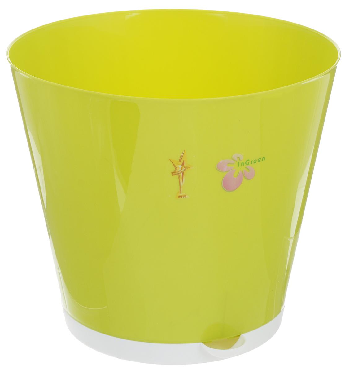 Горшок для цветов InGreen Крит, с системой прикорневого полива, цвет: салатовый, белый, диаметр 25,4 смING46025СЛГоршок InGreen Крит, выполненный из высококачественного пластика, предназначен для выращивания комнатных цветов, растений и трав. Специальная конструкция обеспечивает вентиляцию в корневой системе растения, а дренажные отверстия позволяют выходить лишней влаге из почвы. Крепежные отверстия и штыри прочно крепят подставку к горшку. Прикорневой полив растения осуществляется через удобный носик. Система прикорневого полива позволяет оставлять комнатное растение без внимания тем, кто часто находится в командировках или собирается в отпуск и не имеет возможности вовремя поливать цветы. Такой горшок порадует вас современным дизайном и функциональностью, а также оригинально украсит интерьер любого помещения. Объем: 7 л. Диаметр горшка (по верхнему краю): 25,4 см. Высота горшка: 22,6 см.