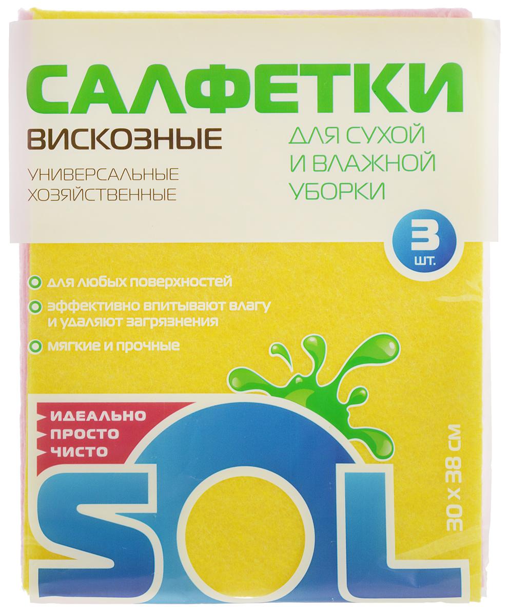 Салфетка для уборки Sol из вискозы, универсальная, цвет: желтый, розовый, 30 x 38 см, 3 шт10002/10054_желтый,розовыйСалфетки для уборки Sol, выполненные из вискозы, предназначены для уборки и могут применяться с различными моющими средствами. Эффективно впитывают жидкость. Мягкие и прочные, легко отжимаются и быстро сохнут. Рекомендации по уходу: Для обеспечения гигиеничности уборки после применения прополоскать в теплой воде. Для продления срока службы не применять машинную стирку, не гладить и не кипятить.