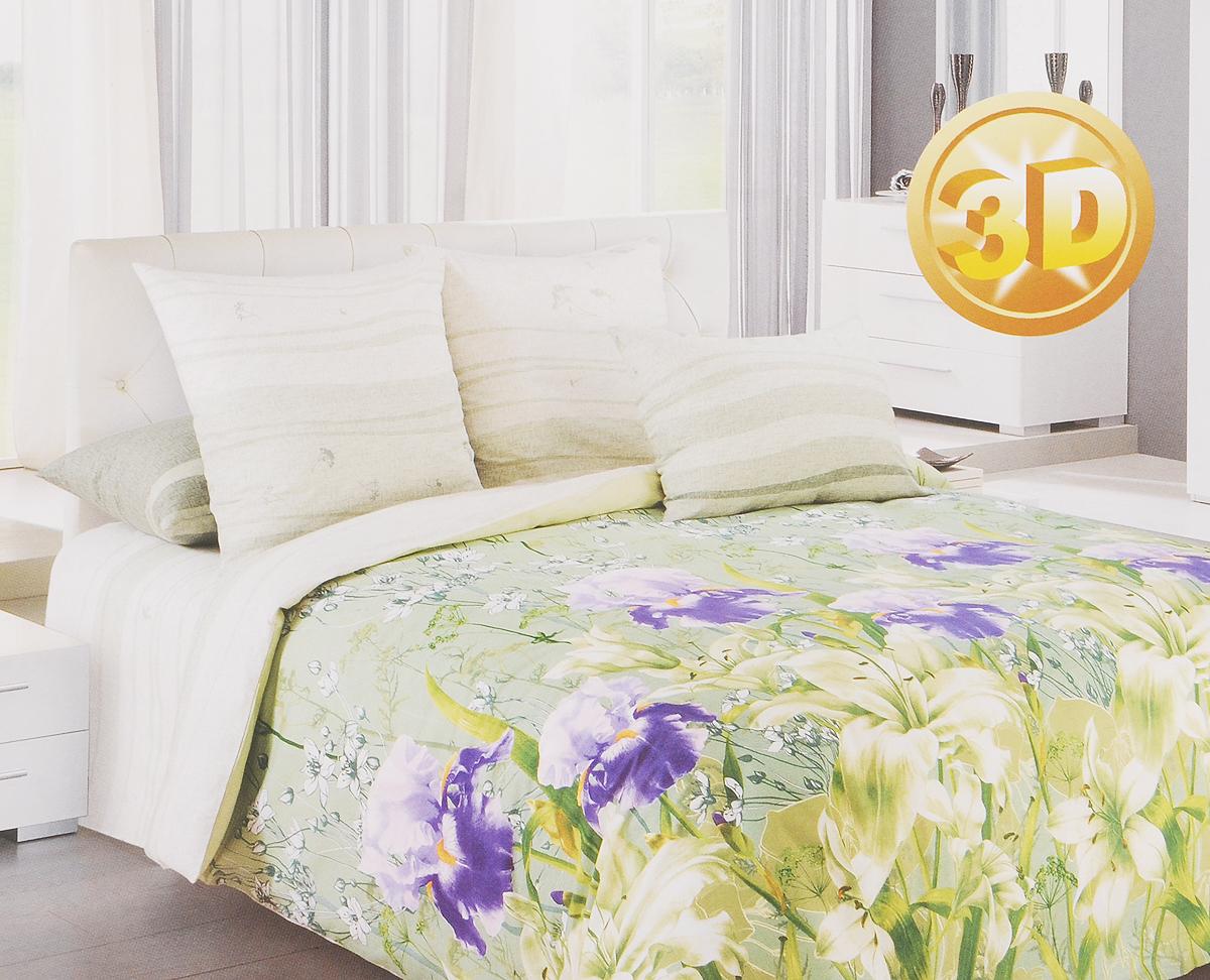 Комплект белья 3D Primavera Флора, 1,5-спальный, наволочки 70х70, цвет: зеленый, белый, фиолетовый80783Комплект постельного белья Primavera Флора является экологически безопасным для всей семьи, так как выполнен из перкаля премиум класса - экологически чистой ткани на основе натурального хлопка. Комплект состоит из пододеяльника, простыни и двух наволочек. Постельное белье оформлено ярким рисунком цветов с эффектом 3D и имеет изысканный внешний вид. Перкаль - это тонкая и легкая хлопчатобумажная ткань высокой плотности полотняного переплетения, сотканная из пряжи высоких номеров. При изготовлении перкаля используются длинноволокнистые сорта хлопка, что обеспечивает высокие потребительские свойства материала. Перкаль очень шелковистая и мягкая на ощупь ткань, нежная и тонкая, но при этом удивительно прочная. Несмотря на свою утонченность, перкаль очень практичен - это одна из самых износостойких тканей для постельного белья. Приобретая комплект постельного белья Primavera Флора, вы можете быть уверенны в том, что покупка...