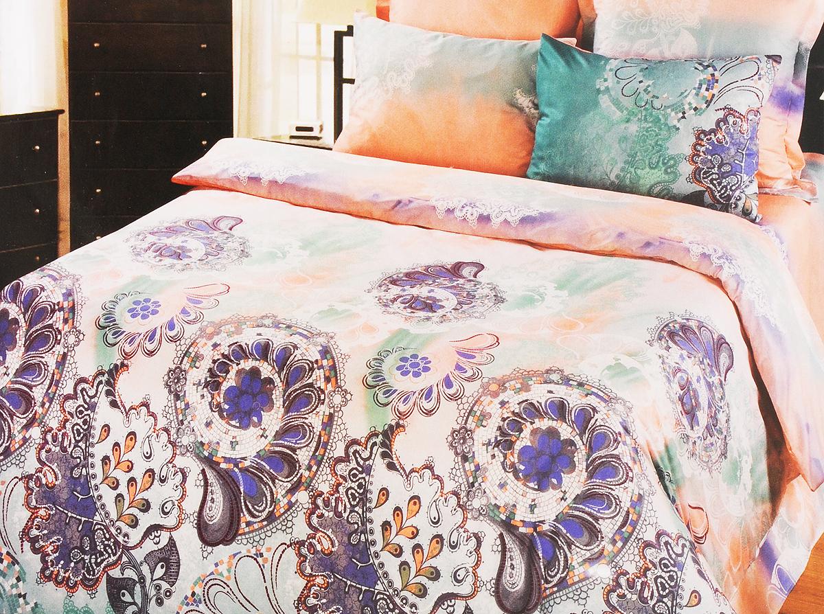 Комплект белья Арт Постель Муза, 1,5-спальный, наволочки 70х50 и 70x70, цвет: светло-розовый, белый, синий755Комплект белья Арт Постель Муза, выполненный из высококачественного сатина (100% хлопка), создан для ценителей комфорта и роскоши. Комплект состоит из пододеяльника на молнии, простыни и четырех наволочек. Постельное оформлено красочным принтом и имеет изысканный внешний вид. Сатин - производится из высших сортов хлопка, а своим блеском и легкостью напоминает шелк. Постельное белье из сатина превращает жаркие летние ночи в прохладные и освежающие, а холодные зимние - в теплые и согревающие. Приобретая комплект белья Арт Постель Муза, вы можете быть уверенны в том, что покупка доставит вам и вашим близким удовольствие и подарит максимальный комфорт.