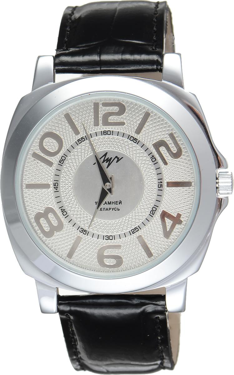 Часы наручные мужские Луч, цвет: серебряный, черный. 7883167578831675Стильные часы Луч выполнены из металлического сплава и силикатного стекла. Корпус имеет покрытие из хрома, которое обладает особой стойкостью к стиранию. Циферблат оформлен символикой бренда. Механические часы с 15 рубиновыми камнями и противоударным устройством оси баланса дополнены ремешком из натуральной кожи с лаковым покрытием и декоративным тиснением, который застегивается на практичную пряжку. Часы поставляются в фирменной упаковке. Часы Луч подчеркнут отменное чувство стиля их обладателя.