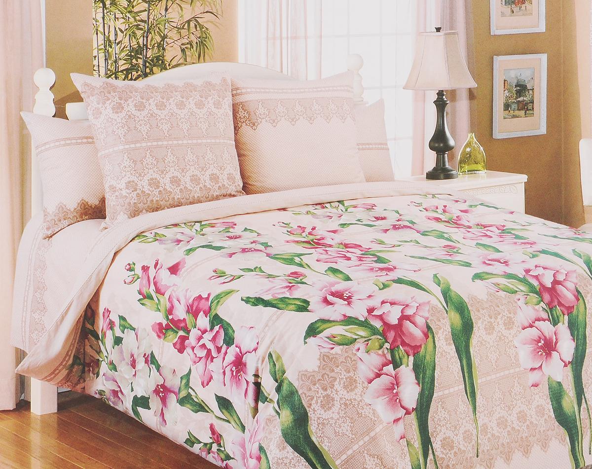 Комплект белья Primavera Гладиолусы, 1,5-спальный, наволочки 70х70, цвет: бежевый, розовый, зеленый81087Комплект белья Primavera Гладиолусы состоит из пододеяльника, простыни и двух наволочек. Постельное белье имеет изысканный внешний вид, а также обладает яркостью и сочностью цвета. Удивительный красоты рисунок, нанесенный на белье, сочетает в себе нежность и теплоту. Постельное белье Primavera Гладиолусы, выполненное из перкаля, создано для романтичных натур, которые любят изысканный дизайн. Перкаль - ткань из натурального элитного хлопка. Использование особо тонких нитей такого хлопка придает ткани деликатность и при этом высокую плотность. Перкаль не линяет, не садится и сохраняет свои свойства даже после многократных стирок. Перкаль красив сам по себе, рисунки на этой ткани выглядят как живописное полотно. Восхитительны тонкие прорисовки линий, изысканные оттенки цвета, благородные тона. Перкаль дарит поистине неповторимые ощущения прохлады и свежести, он будто ласкает кожу, даря спокойный и здоровый сон. Приобретая комплект...