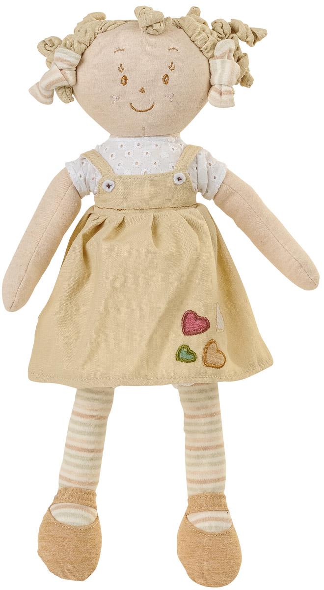 BabyOno Мягкая кукла Лили цвет платья бежевый1254_бежевыйМягкая кукла BabyOno Лили будет прекрасным подарком для самых маленьких девочек. Кукла одета в белую футболку и бежевый сарафанчик. Одежда у куклы снимается, ее можно переодевать. Смешные текстильные кудряшки на голове заинтересуют своей необычностью. Внутри них спрятаны упругие резинки. Кукла выполнена в нежных и спокойных тонах - это положительно влияет на эмоциональное состояние ребенка. Разнофактурные материалы игрушки поддерживают развитие сенсорной моторики ребенка. Кукла улыбается, у нее задорные вышитые глазки. Мягкая кукла BabyOno станет настоящим другом для вашей маленькой принцессы.
