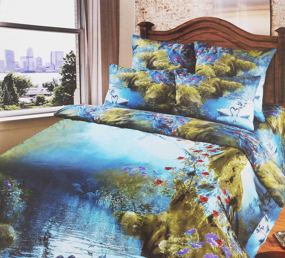Комплект белья Арт Постель Лебеди, 1,5-спальный, наволочки 50х70 и 70x70, цвет: голубой, зеленый, красный735Комплект белья Арт Постель Лебеди, выполненный из сатина (100% хлопка) и купона, создан для ценителей комфорта и роскоши. Комплект состоит из двух пододеяльников на молнии, простыни и четырех наволочек. Постельное белье имеет изысканный внешний вид, а также обладает яркостью и сочностью цвета. Набивные (печатные) ткани - это ткани, имеющие на поверхности печатный набивной рисунок. Иными словами, происходит набивка цветного узора по уже готовой гладкой ткани, чаще всего с помощью тканепечатающих машин. К набивным тканям относятся купонные ткани. Купон (купонная ткань) - это крупный рисунок по краю ткани, который плавно уменьшается к середине полотна. Элементы рисунка купонной ткани ритмично уменьшаются и плавно перетекают в основной фон. Сатин - производится из высших сортов хлопка, а своим блеском и легкостью напоминает шелк. Постельное белье из сатина превращает жаркие летние ночи в прохладные и освежающие, а холодные зимние - в...