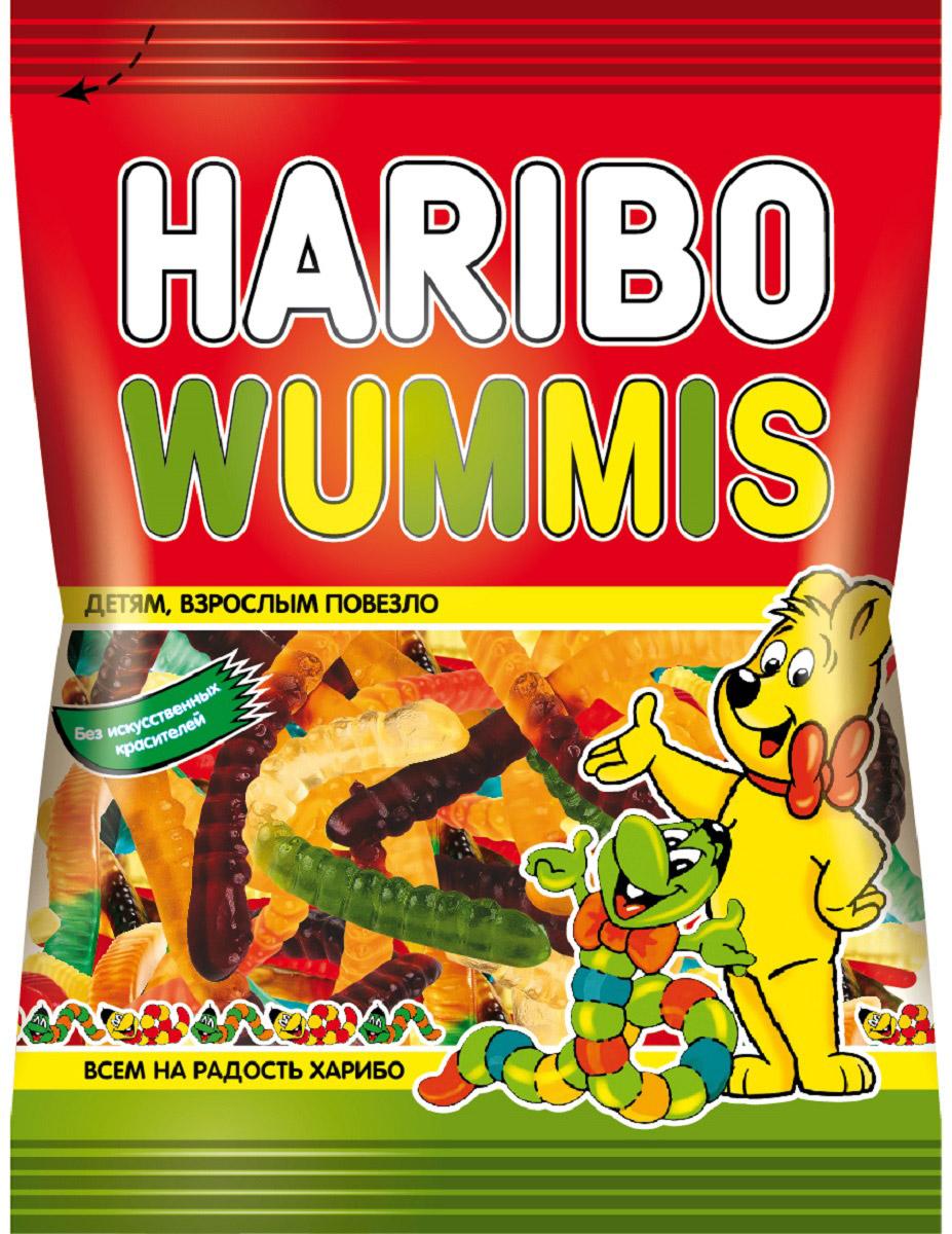 Wummis Haribo - жевательный мармелад в форме червячков с комбинацией нескольких вкусов: Абрикос / Апельсин Клубника / Ананас Лимон / Малина Это гармоничное сочетание сладости, игрушки и пользы для детей! Haribo Wummis - это жевательный мармелад, который пользуется феноменальной популярностью у маленьких любителей сладкого!