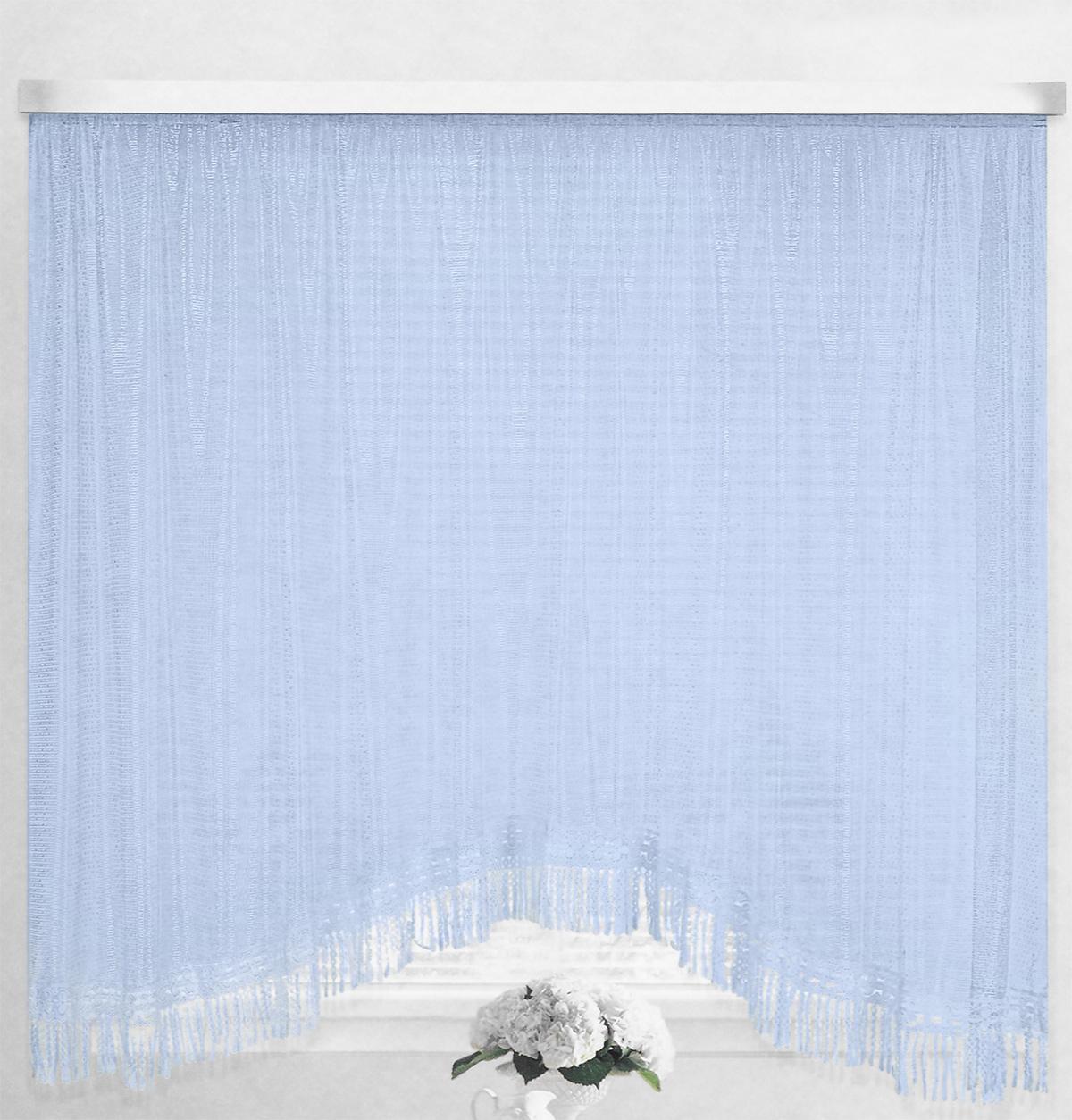Штора-арка ТД Текстиль Капли росы, на ленте, цвет: голубой, высота 165 см82650_голубойШтора-арка ТД Текстиль Капли росы великолепно украсит любое окно. Штора выполнена из качественного сетчатого полиэстера и декорирована бахромой. Полупрозрачная ткань, оригинальный дизайн и приятная цветовая гамма привлекут к себе внимание и позволят шторе органично вписаться в интерьер помещения. Штора крепится на карниз при помощи шторной ленты, которая поможет красиво и равномерно задрапировать верх. Изделие отлично подходит для кухни, столовой, спальни.