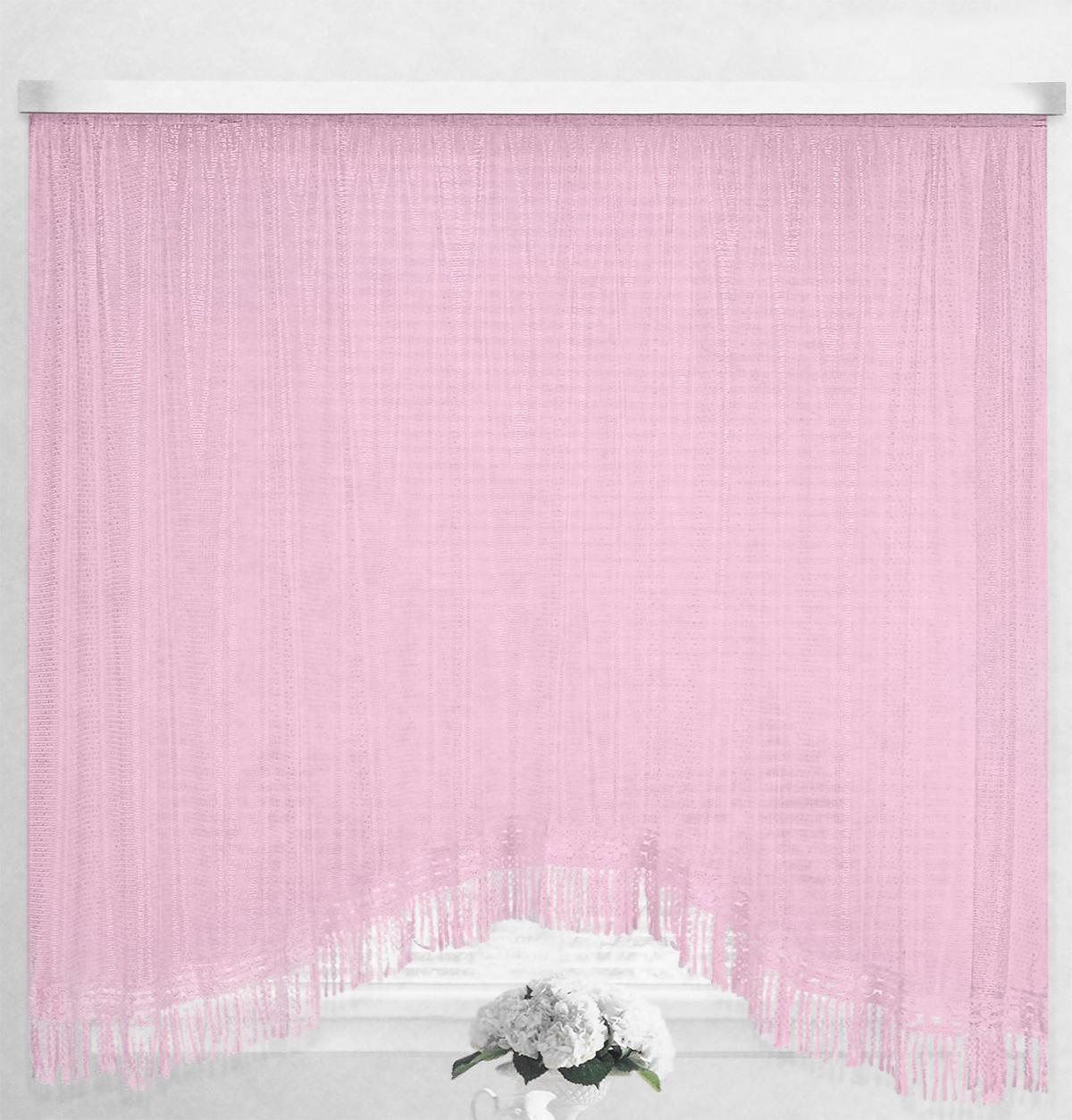 Штора-арка ТД Текстиль Капли росы, на ленте, цвет: розовый, высота 165 см82650_розовыйШтора-арка ТД Текстиль Капли росы великолепно украсит любое окно. Штора выполнена из качественного сетчатого полиэстера и декорирована бахромой. Полупрозрачная ткань, оригинальный дизайн и приятная цветовая гамма привлекут к себе внимание и позволят шторе органично вписаться в интерьер помещения. Штора крепится на карниз при помощи шторной ленты, которая поможет красиво и равномерно задрапировать верх. Изделие отлично подходит для кухни, столовой и спальни.