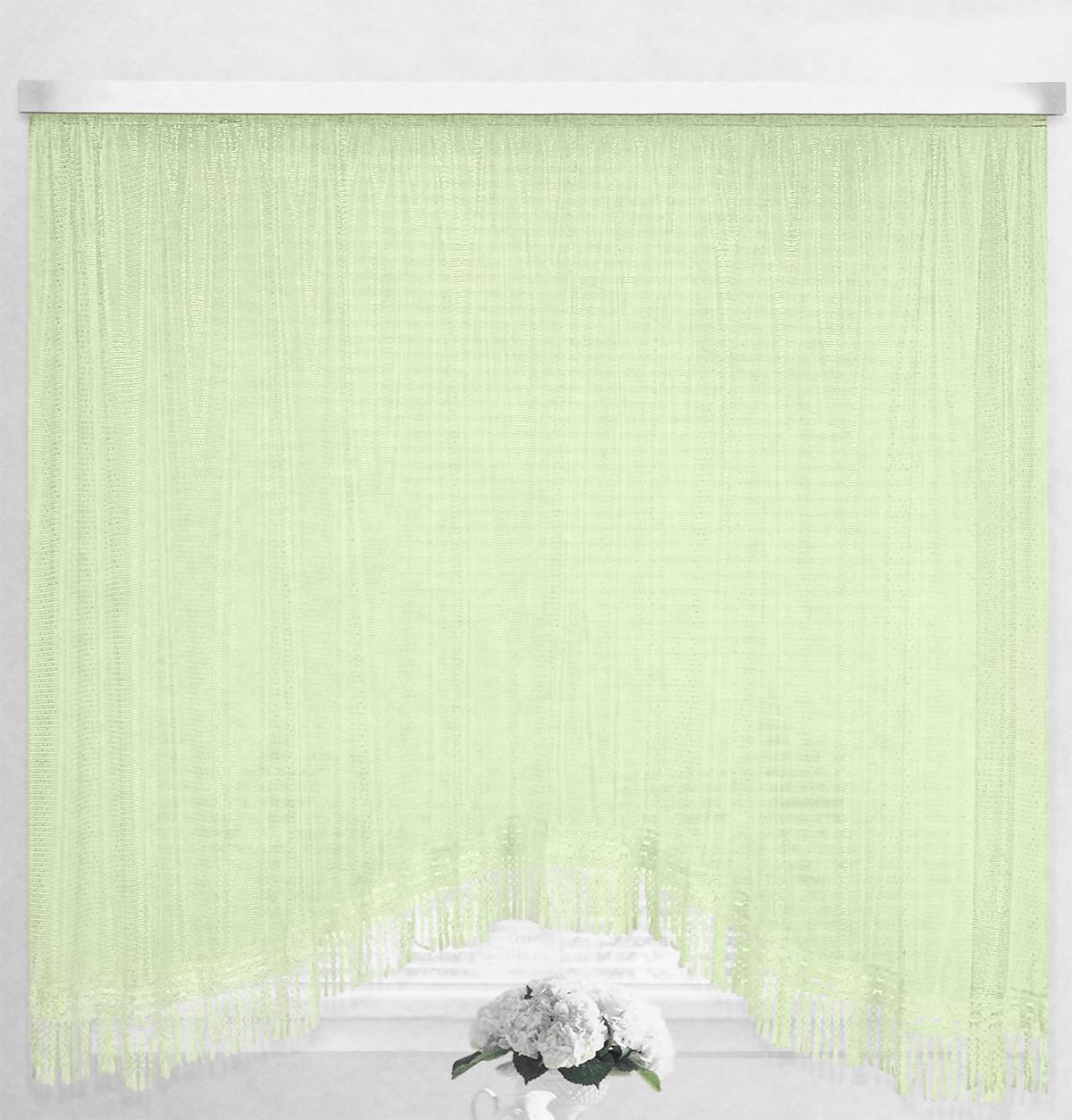 Штора-арка ТД Текстиль Капли росы, на ленте, цвет: зеленый, высота 165 см82650_зеленыйШтора-арка ТД Текстиль Капли росы великолепно украсит любое окно. Штора выполнена из качественного сетчатого полиэстера и декорирована бахромой. Полупрозрачная ткань, оригинальный дизайн и приятная цветовая гамма привлекут к себе внимание и позволят шторе органично вписаться в интерьер помещения. Штора крепится на карниз при помощи шторной ленты, которая поможет красиво и равномерно задрапировать верх. Изделие отлично подходит для кухни, столовой и спальни.