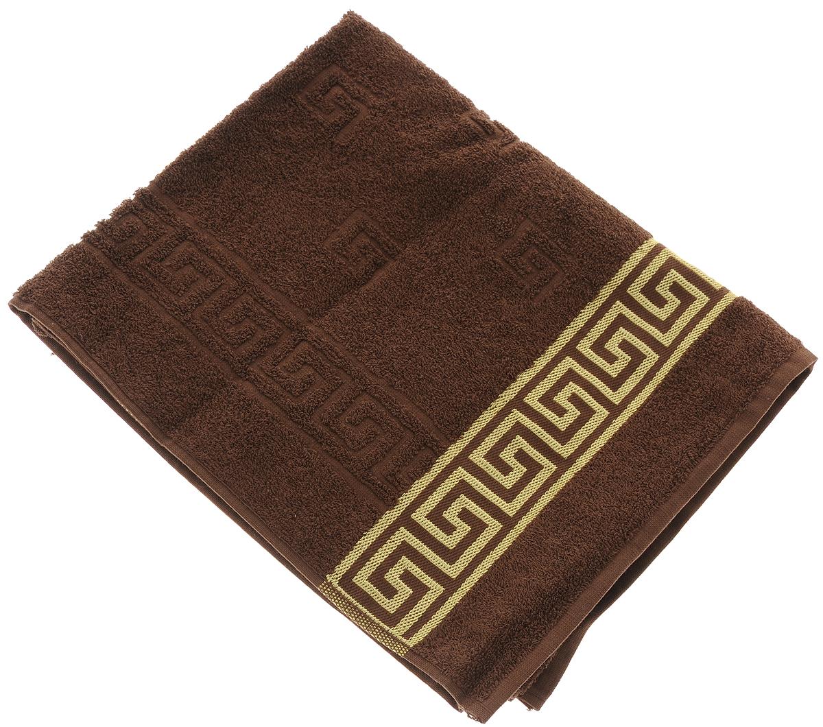 Полотенце Вышневолоцкий текстиль, цвет: темно-коричневый, золотистый, 90 х 50 см13754Махровое полотенце Вышневолоцкий текстиль выполнено из 100% хлопка. Изделие отлично впитывает влагу, быстро сохнет, сохраняет яркость цвета и не теряет форму даже после многократных стирок. Такое полотенце очень практично и неприхотливо в уходе. Оно украсит интерьер в ванной комнате, а также подарит ощущение заботливой нежности и удивительного комфорта. Рекомендуется стирка при температуре 60°C.