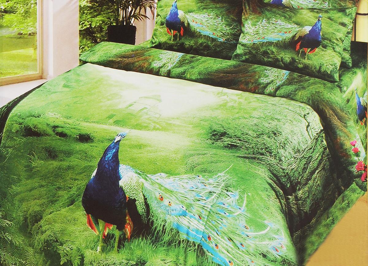 Комплект белья 3D Арт Постель Павлин, 1,5-спальный, наволочки 70х50 и 70х70, цвет: зеленый, голубой, оранжевый755Комплект белья 3D Арт Постель Павлин состоит из пододеяльника на молнии, простыни и четырех наволочек. Постельное белье, выполненное из сатина (100% хлопка), оформлено ярким рисунком с эффектом 3D и имеет изысканный внешний вид. Сатин - производится из высших сортов хлопка, а своим блеском и легкостью напоминает шелк. Постельное белье из сатина превращает жаркие летние ночи в прохладные и освежающие, а холодные зимние - в теплые и согревающие. Приобретая комплект белья Арт Постель Павлин, вы можете быть уверенны в том, что покупка доставит вам и вашим близким удовольствие и подарит максимальный комфорт.