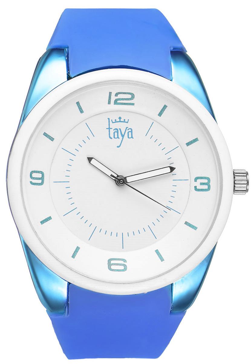 Часы наручные женские Taya, цвет: белый, синий. T-W-0251T-W-0251-WATCH-WH.D.BLUEСтильные женские часы Taya выполнены из минерального стекла, силикона и нержавеющей стали. Циферблат часов украшен символикой бренда. Корпус часов оснащен кварцевым механизмом со сменным элементом питания, а также дополнен силиконовым ремешком, который застегивается на пряжку. На стрелки нанесен светящийся состав. Часы поставляются в фирменной упаковке. Часы Taya подчеркнут изящность женской руки и отменное чувство стиля у их обладательницы.