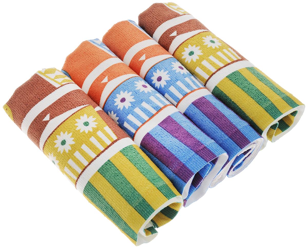 Набор полотенец Soavita Кухонная утварь, цвет: оранжевый, коричневый, 38 х 64 см, 4 шт4005075_цветыНабор Soavita Кухонная утварь, выполненный из микрофибры, состоит из четырех полотенец. Микрофибра - ткань, произведенная из волокон полиэстера, также может состоять из волокон полиамида и других полимеров. Свое название ткань получила из-за толщины волокон, составляющей несколько микрометров. Изделия отлично впитывают влагу, быстро сохнут, сохраняют яркость цвета и не теряют форму даже после многократных стирок. Полотенца очень практичны и неприхотливы в уходе. Такой набор создаст прекрасное настроение и украсит интерьер.