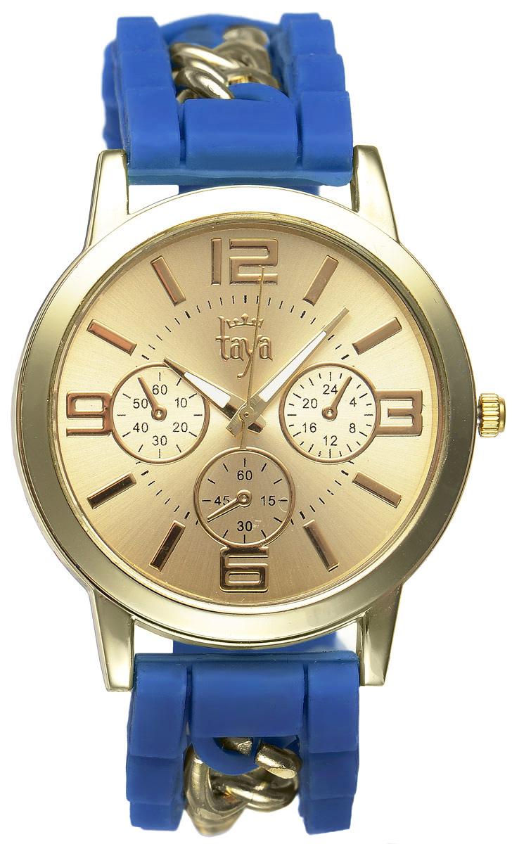 Часы наручные женские Taya, цвет: золотистый, синий. T-W-0214T-W-0214-WATCH-GL.BLUEСтильные женские часы Taya выполнены из минерального стекла, силикона и нержавеющей стали. Циферблат часов оформлен символикой бренда и тремя декоративными отметками. Корпус оснащен кварцевым механизмом со сменным элементом питания. На стрелки нанесен светящийся состав. Браслет, выполненный из силикона и декорированный цепочками, застегивается на практичную пряжку. Изделие поставляется в фирменной упаковке. Часы Taya подчеркнут изящность женской руки и отменное чувство стиля у их обладательницы.