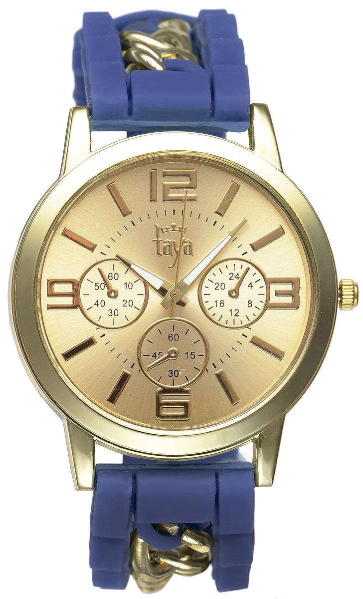 Часы наручные женские Taya, цвет: золотистый, темно-синий. T-W-0218T-W-0218-WATCH-GL.D.BLUEСтильные женские часы Taya выполнены из минерального стекла, силикона и нержавеющей стали. Циферблат часов оформлен символикой бренда и тремя декоративными отметками. Корпус оснащен кварцевым механизмом со сменным элементом питания. На стрелки нанесен светящийся состав. Браслет, выполненный из силикона и декорированный цепочками, застегивается на практичную пряжку. Изделие поставляется в фирменной упаковке. Часы Taya подчеркнут изящность женской руки и отменное чувство стиля у их обладательницы.