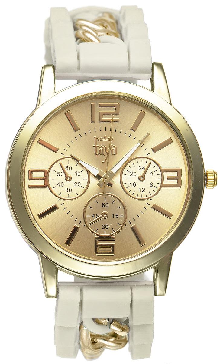 Часы наручные женские Taya, цвет: золотистый, кремовый. T-W-0216T-W-0216-WATCH-GL.CREAMСтильные женские часы Taya выполнены из минерального стекла, силикона и нержавеющей стали. Циферблат часов оформлен символикой бренда и тремя декоративными отметками. Корпус оснащен кварцевым механизмом со сменным элементом питания. На стрелки нанесен светящийся состав. Браслет, выполненный из силикона и декорированный цепочками, застегивается на практичную пряжку. Изделие поставляется в фирменной упаковке. Часы Taya подчеркнут изящность женской руки и отменное чувство стиля у их обладательницы.