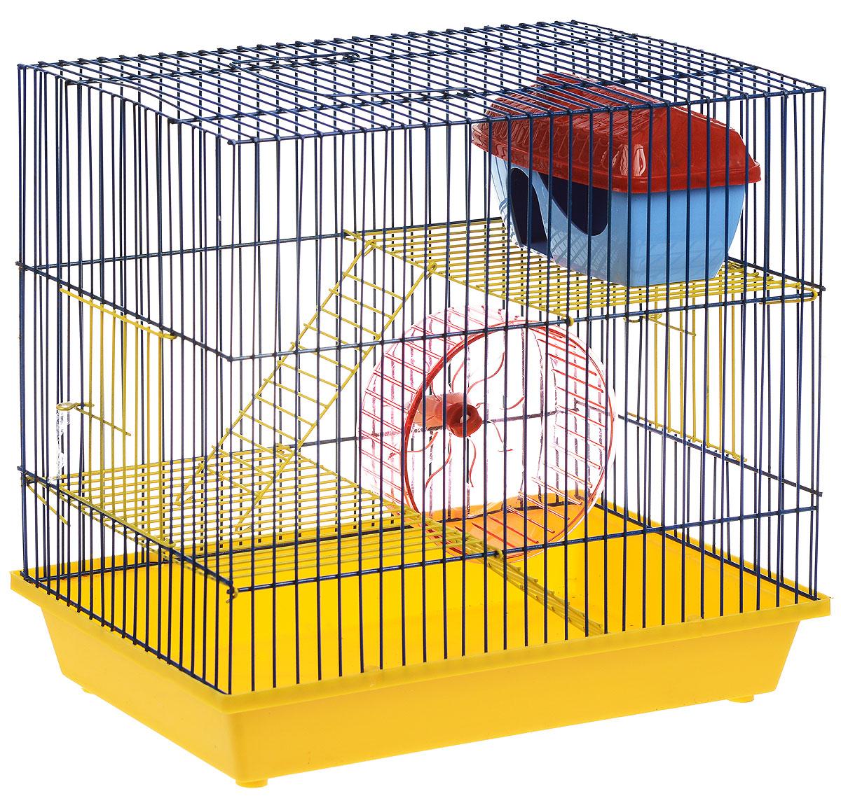 Клетка для грызунов ЗооМарк, 3-этажная, цвет: желтый поддон, синяя решетка, желтые этажи, 36 х 23 х 34,5 см. 135ж135ж_желтый, синийКлетка ЗооМарк, выполненная из полипропилена и металла, подходит для мелких грызунов. Изделие трехэтажное, оборудовано колесом для подвижных игр и пластиковым домиком. Клетка имеет яркий поддон, удобна в использовании и легко чистится. Сверху имеется ручка для переноски. Такая клетка станет уединенным личным пространством и уютным домиком для маленького грызуна.