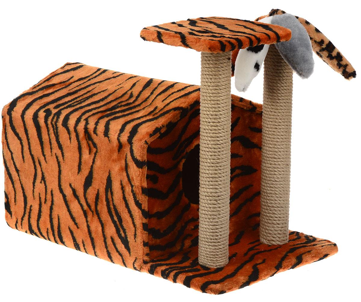 Игровой комплекс для кошек Меридиан, с домиком и когтеточкой, цвет: оранжевый, черный, бежевый, 72 х 41 х 53 смД314 ТИгровой комплекс Меридиан выполнен из высококачественного ДВП и ДСП и обтянут искусственным мехом. Изделие предназначено для кошек. Ваш домашний питомец будет с удовольствием точить когти о специальные столбики, изготовленные из джута. Один столбик выглядит как пальма. А отдохнуть она сможет либо на площадке, находящейся наверху столбика, либо в домике. Общий размер: 72 х 41 х 53 см. Размер домика: 50 х 41 х 38 см. Размер площадки: 24 х 24 см.