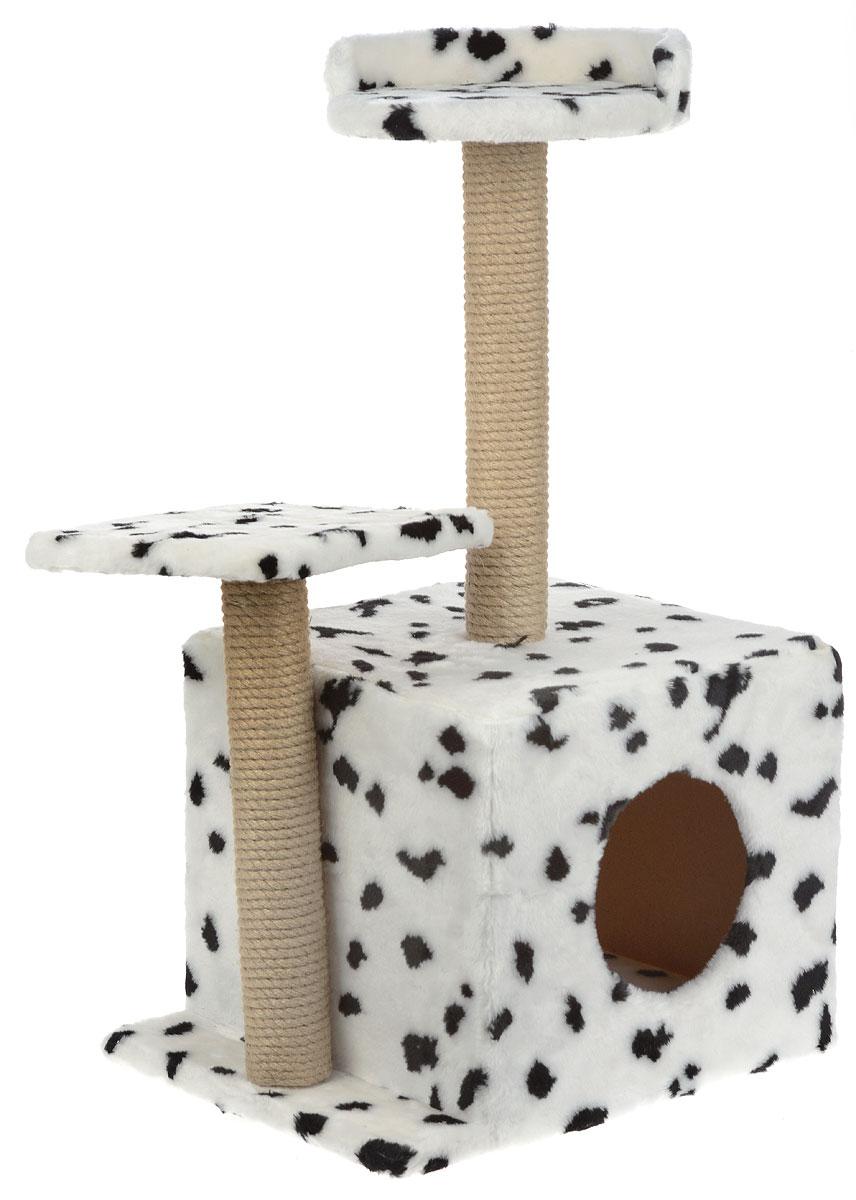 Игровой комплекс для кошек Меридиан, с домиком и когтеточкой, цвет: белый, черный, бежевый, 35 х 45 х 75 смД130 ДИгровой комплекс для кошек Меридиан выполнен из высококачественного ДВП и ДСП и обтянут искусственным мехом. Изделие предназначено для кошек. Ваш домашний питомец будет с удовольствием точить когти о специальные столбики, изготовленные из джута. А отдохнуть он сможет либо на полках разной высоты, либо в расположенном внизу домике. Общий размер: 50 х 37 х 74 см. Размер домика: 46 х 37 х 33 см. Высота полок (от пола): 74 см, 45 см. Размер полок: 27 х 27 см, 26 х 26 см.