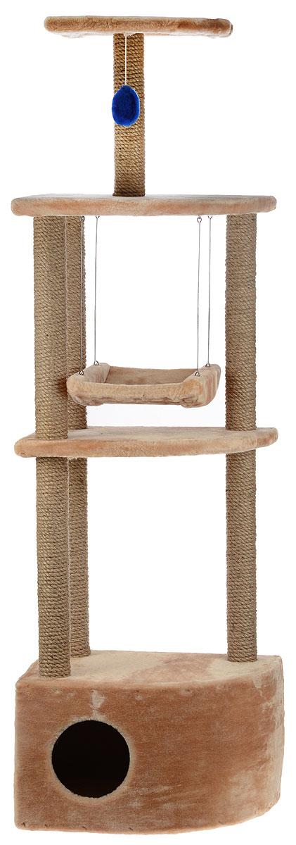 Игровой комплекс для кошек ЗооМарк Бонифаций, с домиком и когтеточкой, цвет: бежевый, 51 х 36 х 168 см143_бежевыйИгровой комплекс для кошек ЗооМарк Бонифаций выполнен из высококачественного дерева и обтянут искусственным мехом. Изделие предназначено для кошек. Комплекс имеет 4 яруса. Ваш домашний питомец будет с удовольствием точить когти о специальные столбики, изготовленные из джута. А отдохнуть он сможет на полках или в домике. На одной из полок расположена игрушка, которая еще сильнее привлечет внимание питомца. Также комплекс оснащен качелями. Общий размер: 51 х 36 х 168 см. Размер домика: 51 х 36 х 35 см. Размер больших полок: 49 х 35 см. Размер малой полки: 35 х 25 см. Размер сиденья качелей: 35 х 27 см.