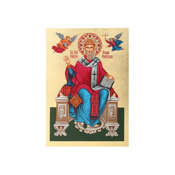 Икона Артола Святитель Спиридон, 12,5 см х 16,5 см х 2 смIR-SST-P2Православная каноничная икона. Современная оригинальная интерпретация. Афинская иконописная школа. Метод нанесения образа на полотно - полноцветная многослойная шелкография. Золотой фон - поталь. Деревянная основа (мдф + шпон) имеет отверстие для крепления.