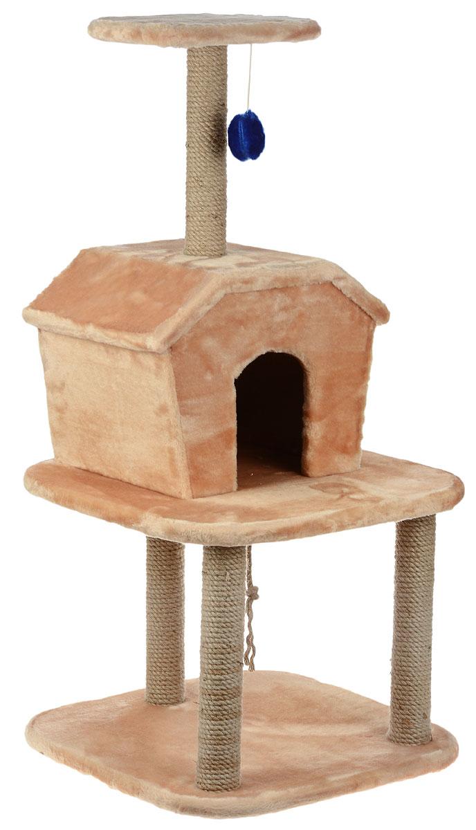 Игровой комплекс для кошек ЗооМарк Барсик, с домиком и когтеточкой, цвет: светло-коричневый, бежевый, 56 х 56 х 115 см128Игровой комплекс для кошек ЗооМарк Барсик выполнен из высококачественного дерева и обтянут искусственным мехом. Изделие предназначено для кошек. Ваш домашний питомец будет с удовольствием точить когти о специальные столбики, изготовленные из джута. А отдохнуть он сможет либо на полках, либо в домике. На одной из полок расположена игрушка, которая еще сильнее привлечет внимание питомца. Общий размер: 56 х 56 х 115 см. Размер домика: 46 х 35 х 34 см. Размер верхней полки: 32 х 25 см.