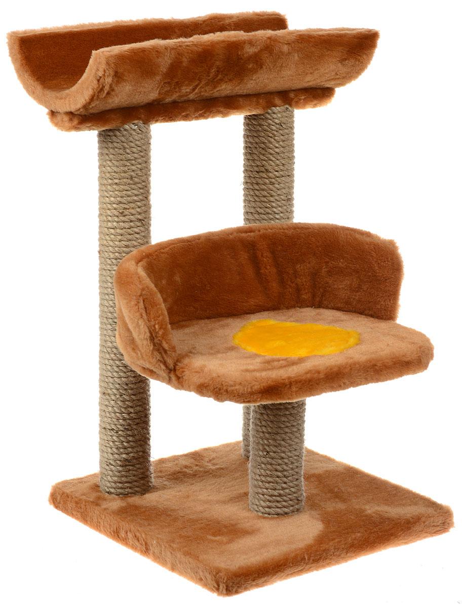 Игровой комплекс для кошек ЗооМарк Матильда, цвет: коричневый, желтый, бежевый, 42 х 38 х 69 см134Игровой комплекс для кошек ЗооМарк Матильда прекрасно подойдет для животного, которое длительное время остается одно дома. Обеспечивая уютное место для сна и отдыха, комплекс является отличной игровой площадкой для развлечения скучающего животного. Комплекс изготовлен из дерева и обтянут искусственным мехом. Столбики, выполненные из джута, на длительное время отвлекут вашу кошку от мягкой мебели и обоев в доме. Комплекс имеет лежак, на котором животное сможет отдохнуть. Сверху имеется седло. Общий размер комплекса: 42 х 38 х 59 см. Размер туннеля: 42 х 19 х 9 см. Размер лежака (рабочая часть): 33 х 25 см.