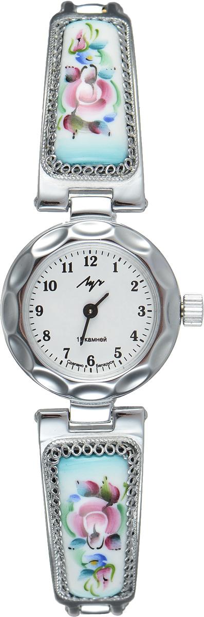 Часы наручные женские Луч, цвет: серебряный, белый. 8137151481371514Стильные часы Луч выполнены из металлического сплава и органического стекла. Круглый корпус часов имеет напыление из хрома, циферблат оформлен символикой бренда. Механические часы с 15 рубиновыми камнями и противоударным устройством оси баланса дополнены оригинальным браслетом с вставками из эмали, которые декорированы росписью. Часы застегиваются на складной замочек. Часы Луч подчеркнут изящность женской руки и отменное чувство стиля у их обладательницы.