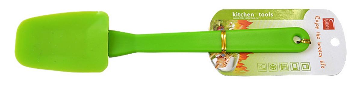 Лопатка кулинарная Marvel, цвет: светло-зеленый, длина 26 см4515Кулинарная лопатка Marvel станет вашим незаменимым помощником на кухне. Силиконовая часть лопатки выдерживает температуру до +230°С. Силикон абсолютно безвреден для здоровья, не впитывает запахи, не оставляет пятен, легко моется. Кулинарная лопатка Marvel - практичный и необходимый подарок любой хозяйке! Можно мыть в посудомоечной машине. Общая длина лопатки: 26 см. Размер рабочей части: 8,9 х 5,2 см.
