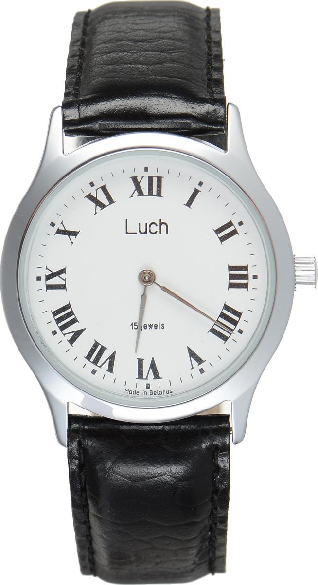Часы наручные мужские Луч, цвет: серебряный, черный. 3523101135231011Стильные часы Луч выполнены из металлического сплава и силикатного стекла. Круглый корпус часов имеет покрытие из хрома, обладающее особой стойкостью к стиранию, циферблат оформлен символикой бренда. Механические часы с 15 рубиновыми камнями и противоударным устройством оси баланса дополнены ремешком из натуральной кожи с декоративным тиснением, который застегивается на практичную пряжку. Часы Луч подчеркнут мужской характер и отменное чувство стиля у их обладателя.