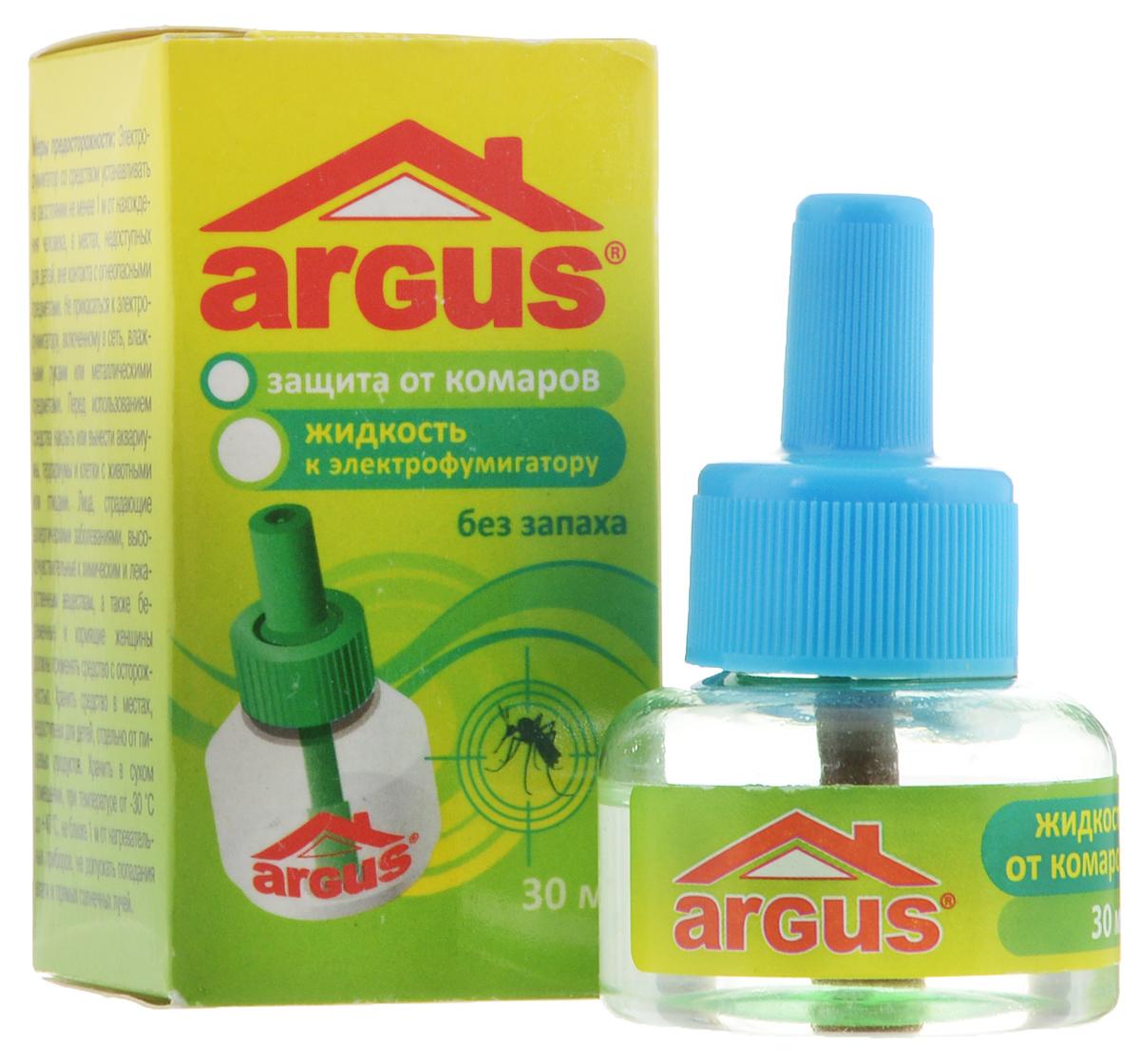 Жидкость от комаров Argus, без запаха, 30 млСЗ.010009Жидкость Argus предназначена для уничтожения комаров. Устанавливается к электрофумигатору (в комплект не входит). Один флакон рассчитан не менее чем на 360 часов. Использование жидкости с фумигатором в течение 30 минут обеспечивает полную гибель мух, комаров и мошек. Используется в помещении площадью не менее 16 м2 при открытых окнах. Средство не имеет запаха. Состав: эток (0,9%), испарители, антиоксиданты, растворители. Товар сертифицирован.