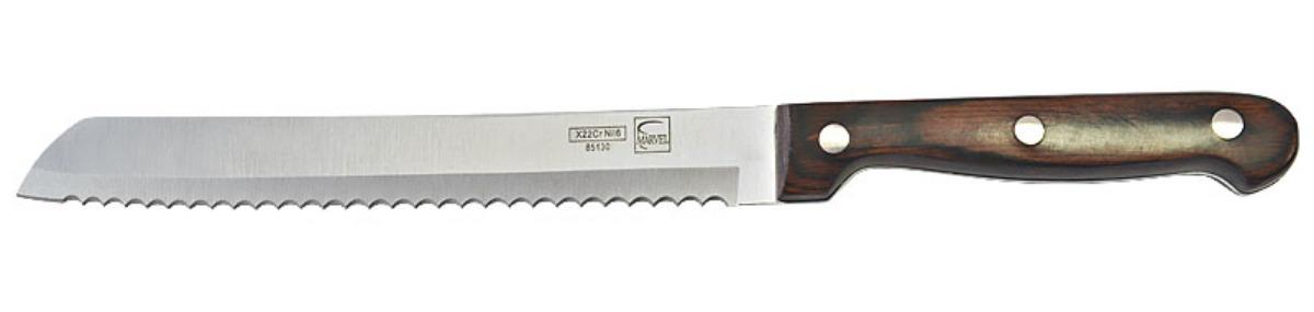 Нож для нарезки хлеба Marvel Rose Wood Original, цвет: серый, длина лезвия 20 см. 8513085130