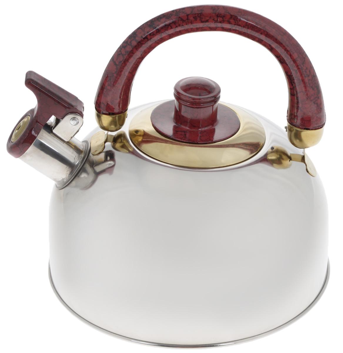 Чайник Mayer & Boch, со свистком, цвет: стальной, бордовый, золотистый, 3 л. 16221622_стальной, бордовый, золотойЧайник Mayer & Boch изготовлен из высококачественной нержавеющей стали, что делает его весьма гигиеничным и устойчивым к износу при длительном использовании. Утолщенное дно обеспечивает равномерный и быстрый нагрев, поэтому вода закипает гораздо быстрее, чем в обычных чайниках. Чайник оснащен откидным свистком, звуковой сигнал которого подскажет, когда закипит вода. Подвижная ручка из бакелита дает дополнительное удобство при разлитии напитка. Чайник Mayer & Boch идеально впишется в интерьер любой кухни и станет замечательным подарком к любому случаю. Подходит для газовых, стеклокерамических, галогеновых и электрических плит. Не подходит для индукционных. Можно мыть в посудомоечной машине. Высота чайника (без учета ручки и крышки): 10 см. Высота чайника (с учетом ручки и крышки): 19 см. Диаметр чайника (по верхнему краю): 8,5 см.