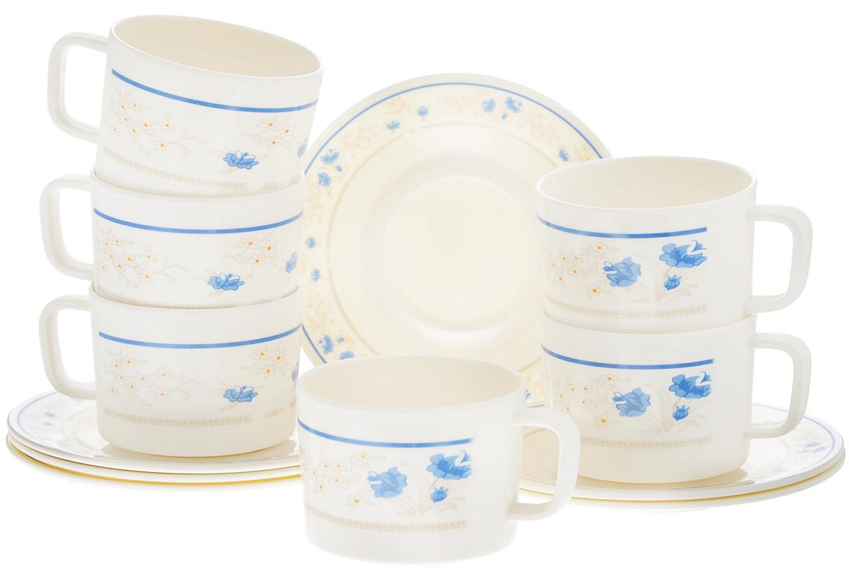 Набор чайный Calve, цвет: белый, голубой, 12 предметов. CL-2510CL-2510_белый в голубой цветокЧайный набор Calve состоит из шести чашек и шести блюдец, выполненных из меламина. Изделия оформлены ярким рисунком. Изящный набор эффектно украсит стол к чаепитию и порадует вас функциональностью и ярким дизайном. Можно мыть в посудомоечной машине. Диаметр чашки (по верхнему краю): 8,5 см. Высота чашки: 7 см. Объем чашки: 330 мл. Диаметр блюдца: 16,5 см. Высота блюдца: 1,5 см.