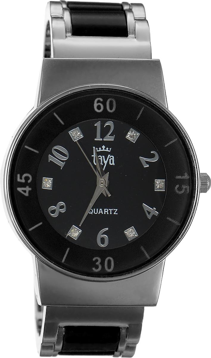 Часы наручные женские Taya, цвет: серебряный, черный. T-W-0469T-W-0469-WATCH-SL.BLACKСтильные женские часы Taya выполнены из минерального стекла и нержавеющей стали. Циферблат часов инкрустирован стразами и оформлен символикой бренда. Корпус часов оснащен кварцевым механизмом со сменным элементом питания и дополнен раздвижным браслетом с пружинным механизмом, который позволяет надеть часы на любую руку. Браслет часов оформлен цветными вставками. Часы поставляются в фирменной упаковке. Часы Taya подчеркнут изящность женской руки и отменное чувство стиля у их обладательницы.