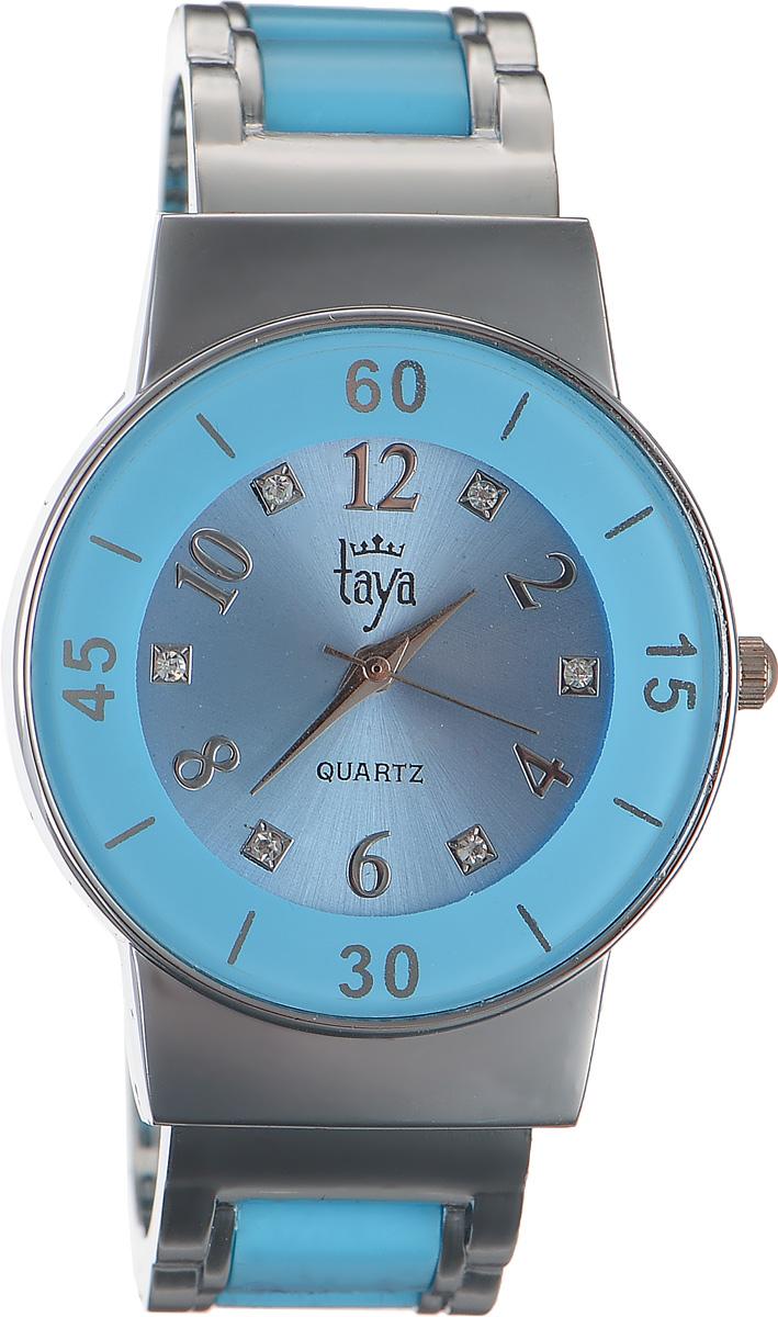 Часы наручные женские Taya, цвет: серебряный, голубой. T-W-0470T-W-0470-WATCH-SL.BLUEСтильные женские часы Taya выполнены из минерального стекла и нержавеющей стали. Циферблат часов инкрустирован стразами и оформлен символикой бренда. Корпус часов оснащен кварцевым механизмом со сменным элементом питания и дополнен раздвижным браслетом с пружинным механизмом, который позволяет надеть часы на любую руку. Браслет часов оформлен цветными вставками. Часы поставляются в фирменной упаковке. Часы Taya подчеркнут изящность женской руки и отменное чувство стиля у их обладательницы.