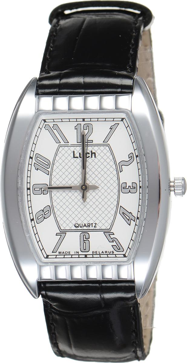 Часы наручные мужские Луч, цвет: серебристый, белый, черный. 7590131775901317Модные мужские часы Луч из Классической коллекции выполнены из органического стекла, натуральной кожи и металла с хромированным покрытием. Циферблат оформлен символикой бренда. Корпус часов оснащен кварцевым механизмом со сменным элементом питания, а также дополнен ремешком из натуральной кожи, который застегивается на пряжку. Часы поставляются в фирменной упаковке. Часы Луч - стильный аксессуар, выгодно дополняющий любой образ.
