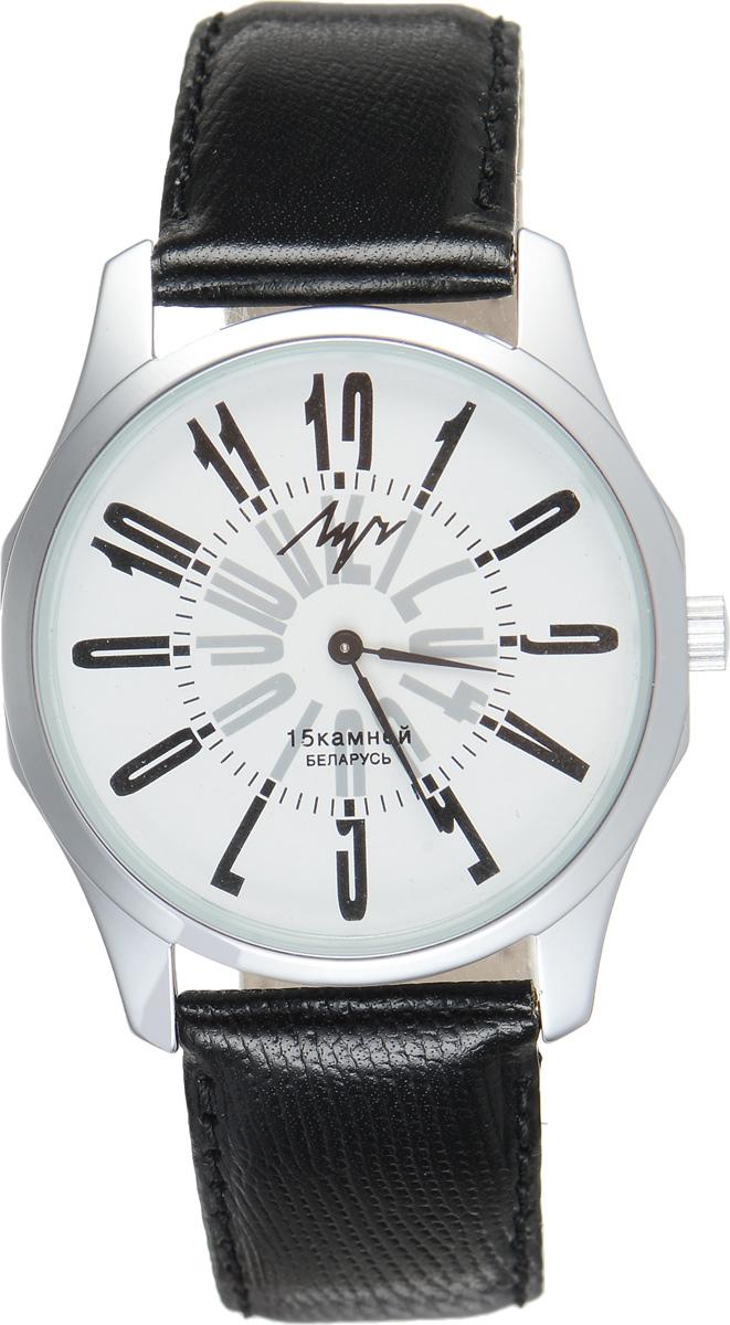 Часы наручные мужские Луч, цвет: черный, серебряный. 3787189637871896Стильные часы Луч выполнены из металлического сплава и силикатного стекла. Корпус часов имеет покрытие из хрома, которое обладает особой стойкостью к стиранию. Циферблат оформлен символикой бренда. Механические часы с 15 рубиновыми камнями дополнены ремешком из натуральной кожи, который застегивается на практичную пряжку. Кожаный ремешок дополнен декоративным тиснением. Часы поставляются в фирменной упаковке. Часы Луч подчеркнут отменное чувство стиля их обладателя.
