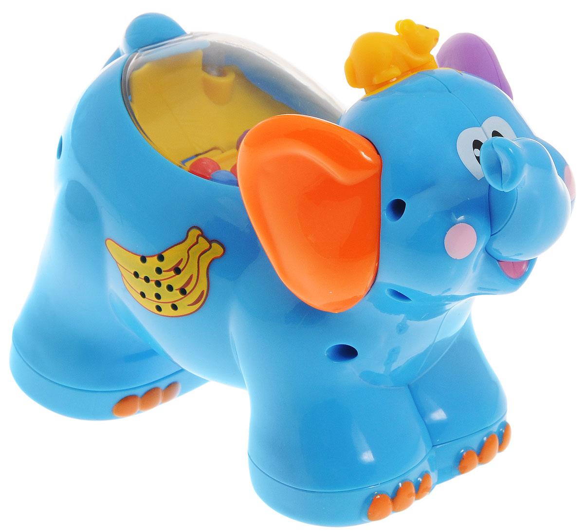 Kiddieland Развивающая игрушка-каталка СлоникKID 051698Развивающая игрушка-каталка Kiddieland Слоник понравится вашему ребенку и не позволит ему скучать. Игрушка выполнена в виде симпатичного слоненка с мышкой, сидящей у него на голове. При нажатии на мышку и движении колесиков звучит веселая музыка, периодически раздается крик слона. Игрушка оснащена колесиками с инерционным ходом: достаточно немного отвести игрушку назад и отпустить - она тут же поедет вперед. На спине игрушки под прозрачным колпаком находятся разноцветные шарики, которые приводятся в движение внутренним колесиком при вращении задних колес игрушки. Игрушка-каталка Kiddieland Слоненок поможет малышу в развитии цветового и звукового восприятия, мелкой моторики рук, координации движений, когнитивных навыков. Для работы игрушки необходимы 3 батарейки напряжением 1,5 V типа AG13 (LR44) (товар комплектуется демонстрационными).