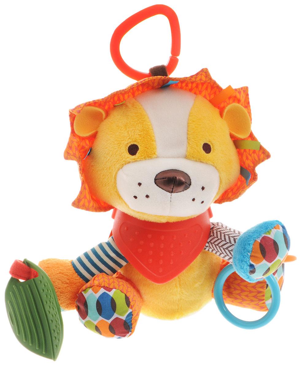 Skip Hop Развивающая игрушка-подвеска ЛевSH 306207Подвесную игрушку Skip Hop Лев можно взять с собой на прогулку в парк, она не даст заскучать и успокоит вашего малыша, если его что-то расстроит. Игрушка выполнена из разнофактурных материалов в виде сидящего льва. На шее льва надет фартук-прорезыватель из упругого материала. В тело льва встроена погремушка, на задних лапах шелестящие подушечки. К правой передней лапе прикреплен листик-прорезыватель. К левой передней лапе пришиты два твердых пластиковых колечка. За счет разнообразной фактуры забавные зверюшки от Skip Hop помогут вашему малышу в развитии тактильных ощущений, цветового и слухового восприятия, станут хорошими друзьями и всегда поднимут настроение. Игрушка легко крепится к любой коляске или кроватке с помощью большого пластикового кольца. Не содержит бисфенол А, поливинилхлорид и фталаты.