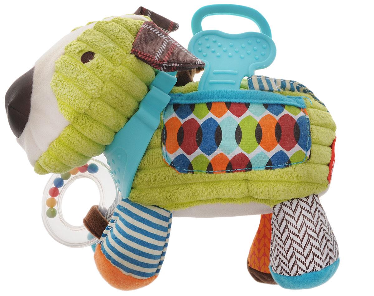 Skip Hop Развивающая игрушка-подвеска ЩенокSH 306204Развивающая игрушка-подвеска Skip Hop Щенок обязательно понравится вашему малышу. Игрушка выполнена из разнофактурных текстильных материалов и пластика в виде собачки с ошейником-прорезывателем. Внутри туловища игрушки расположен колокольчик, звенящий при тряске, а в лапках - шуршащие элементы. К передним лапкам собачки крепится прозрачное пластиковое кольцо с разноцветными шариками. На конце хвоста приделана пластиковая косточка-прорезыватель. На боку собачки пришит кармашек, а к спине прикреплено кольцо, за которое игрушку можно подвесить над кроваткой, прикрепить к коляске или автомобильному креслу. Развивающая игрушка-подвеска Skip Hop Щенок поможет развить у малыша мелкую моторику рук, звуковое и зрительное восприятие, тактильные ощущения, координацию движений, а милый, жизнерадостный образ подарит малышу хорошее настроение! Не содержит бисфенол А, поливинилхлорид и фталаты.
