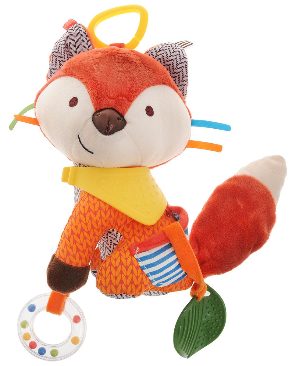 Skip Hop Развивающая игрушка-подвеска ЛисаSH 306206Подвесную игрушку Skip Hop Лиса можно взять с собой на прогулку в парк, она не даст заскучать и успокоит вашего малыша, если его что-то расстроит. Игрушка выполнена из разнофактурных материалов в виде милой лисички. Ушки лисички шелестят, на шее прикреплен желтый фартук-прорезыватель. К передней лапке пришито прозрачное пластиковое колечко с цветными шариками внутри. На боку пришит кармашек с прорезывателем в виде листика. За счет разнообразной фактуры забавные зверюшки от Skip Hop помогут в тактильном развитии вашему малышу, станут хорошими друзьями и всегда поднимут настроение. Игрушка легко крепится к любой коляске или кроватке с помощью большого пластикового кольца. Развивающая игрушка-подвеска Skip Hop Лиса поможет малышу в развитии тактильной чувствительности, слухового и цветового восприятия, моторики. Не содержит бисфенол А, поливинилхлорид и фталаты.