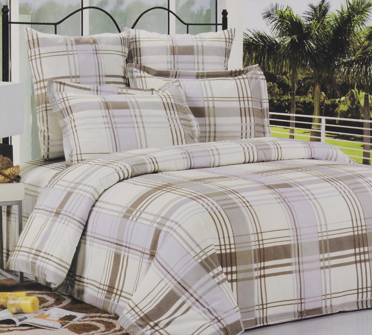 """Комплект белья """"СайлиД"""", 1,5-спальный, наволочки 70х70, цвет: серый, белый"""