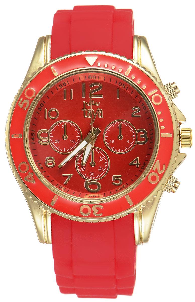 Часы наручные женские Taya, цвет: золотистый, красный. T-W-0241T-W-0241-WATCH-GL.REDСтильные женские часы Taya выполнены из минерального стекла, силикона и нержавеющей стали. Циферблат оформлен символикой бренда и декоративными отметками. Корпус часов оснащен кварцевым механизмом со сменным элементом питания, а также силиконовым ремешком с практичной пряжкой. На стрелки нанесен светящийся состав. Часы поставляются в фирменной упаковке. Часы Taya подчеркнут изящность женской руки и отменное чувство стиля у их обладательницы.