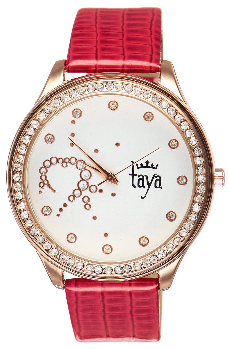 Часы наручные женские Taya, цвет: золотистый, красный. T-W-0031T-W-0031-WATCH-GL.REDЭлегантные женские часы Taya выполнены из минерального стекла, искусственной кожи и нержавеющей стали. Циферблат инкрустирован стразами внутри и по внешней стороне окружности. Корпус часов оснащен кварцевым механизмом со сменным элементом питания, а также дополнен ремешком из искусственной кожи, который застегивается на пряжку. Ремешок декорирован тиснением под кожу рептилии. Часы поставляются в фирменной упаковке. Часы Taya подчеркнут изящность женской руки и отменное чувство стиля у их обладательницы.