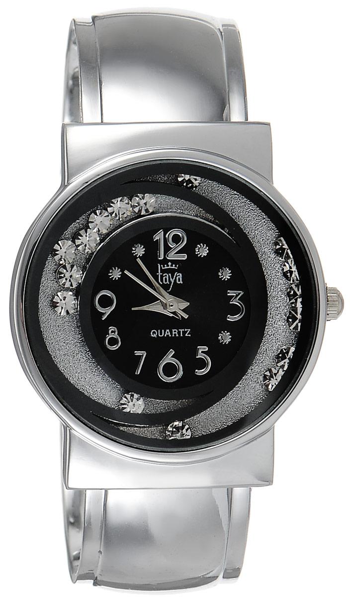 Часы наручные женские Taya, цвет: серебристый, черный. T-W-0412T-W-0412-WATCH-SL.BLACKСтильные женские часы Taya выполнены из минерального стекла и нержавеющей стали. Циферблат часов украшен символикой бренда и декорирован двумя элементами в виде полумесяцев, внутри которых свободно перемещаются стразы. Корпус часов оснащен кварцевым механизмом со сменным элементом питания, а также дополнен раздвижным браслетом с пружинным механизмом, который позволяет надеть часы на любую руку. Часы поставляются в фирменной упаковке. Часы Taya подчеркнут изящность женской руки и отменное чувство стиля у их обладательницы.