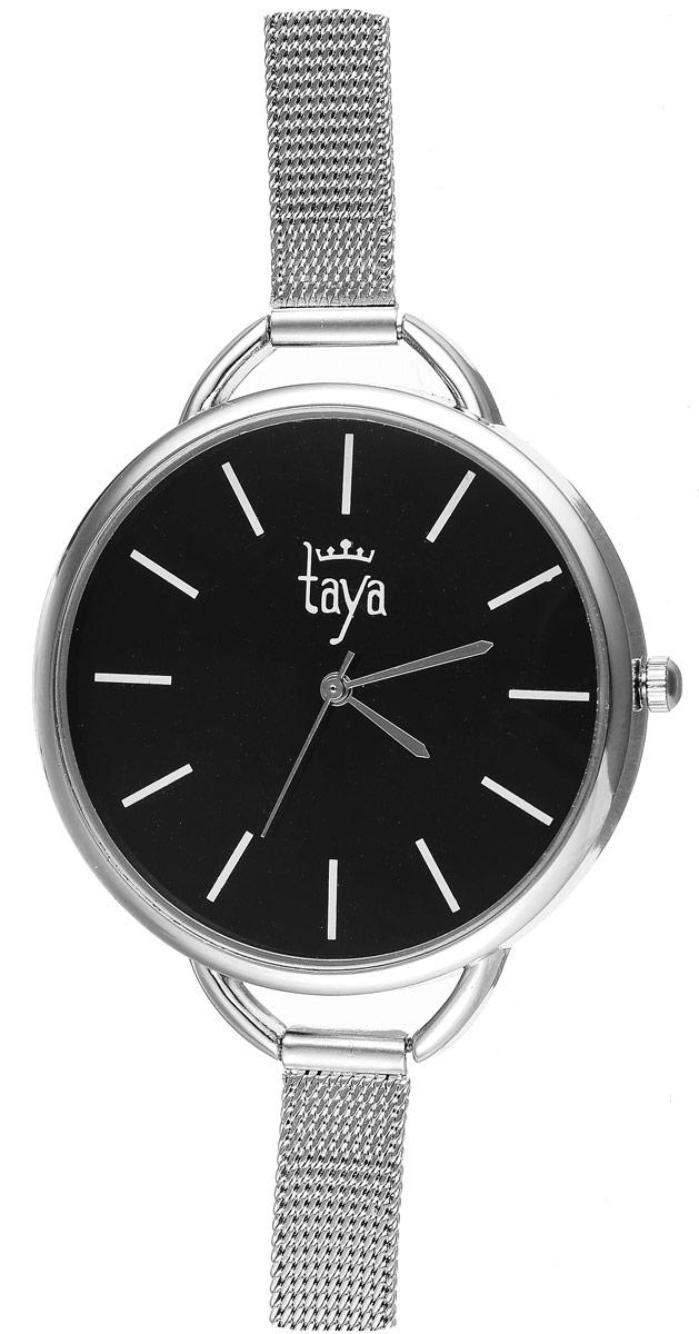 Часы наручные женские Taya, цвет: серебристый, черный. T-W-0476T-W-0476-WATCH-BLACKЭлегантные женские часы Taya выполнены из минерального стекла, металла и нержавеющей стали. Циферблат оформлен символикой бренда. Корпус часов оснащен кварцевым механизмом со сменным элементом питания, а также дополнен металлическим ремешком-цепочкой, который застегивается на пряжку. Часы поставляются в фирменной упаковке. Часы Taya подчеркнут изящность женской руки и отменное чувство стиля у их обладательницы.